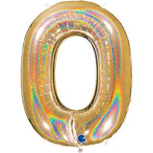 K0030. Balon foliowy w kształcie cyfry 0 w kolorze złotym hologramowym