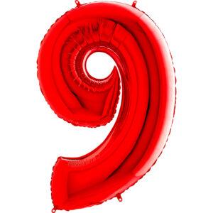 K0149. Balon foliowy w kształcie cyfry 9 w kolorze czerwony