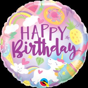 L0035. Balon foliowy z helem na urodziny 18″ cali (43 cm) – Happy Birthday wesoły jednorożec