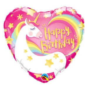 L0036. Balon foliowy z helem na urodziny 18″ cali (43 cm) – serce z jednorożcem