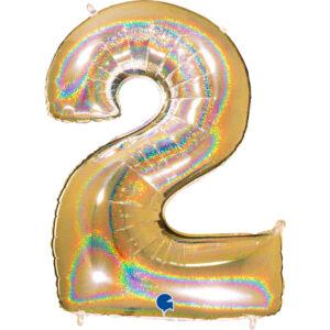 K0022. Balon foliowy w kształcie cyfry 2 w kolorze złotym hologramowym