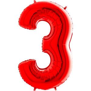 K0143. Balon foliowy w kształcie cyfry 3 w kolorze czerwony