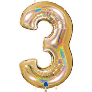 K0023. Balon foliowy w kształcie cyfry 3 w kolorze złotym hologramowym