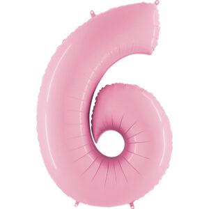 K0056. Balon foliowy w kształcie cyfry 6 w kolorze jasno różowy
