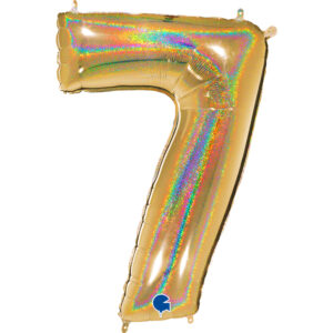 K0027. Balon foliowy w kształcie cyfry 7 w kolorze złotym hologramowym