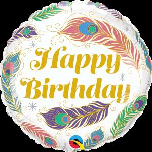 L0014. Balon foliowy z helem na urodziny 18″ cali (43 cm) – Happy Birthday i pawie piórka