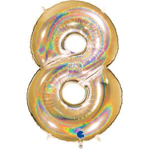 K0028. Balon foliowy w kształcie cyfry 8 w kolorze złotym hologramowym