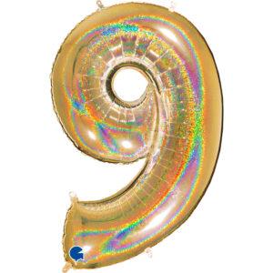 K0029. Balon foliowy w kształcie cyfry 9 w kolorze złotym hologramowym