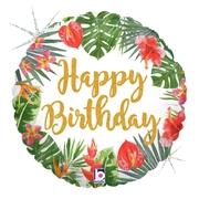 L0015. Balon foliowy z helem na urodziny 18″ cali (43 cm) – Happy Birthday rośliny
