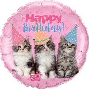 L0022. Balon foliowy z helem na urodziny 18″ cali (43 cm) – Happy Birthday kotki