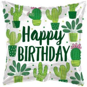 Balon na urodziny z helem tani w kaktusy z napisem Happy Birthday
