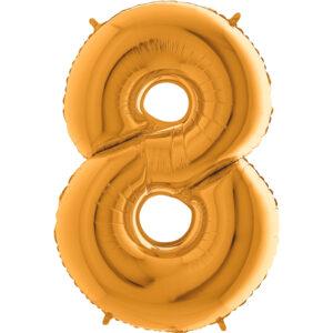 K0008. Balon foliowy w kształcie cyfry 8 w kolorze złotym