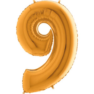 K0009. Balon foliowy w kształcie cyfry 9 w kolorze złotym