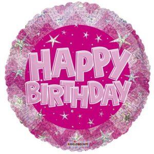 L0016. Balon foliowy z helem na urodziny 18″ cali (43 cm) – Happy Birthday różowy