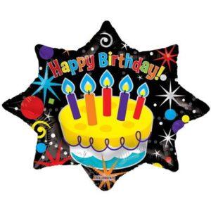 La16. Balon foliowy na urodziny w kształcie gwiazdki z napisem happy Birthday 71 cm