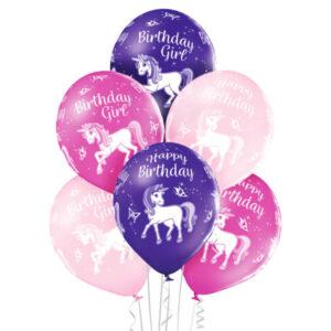 B008. Zestaw balonów na urodziny 6 sztuk z jednorożcem Happy BirthDay