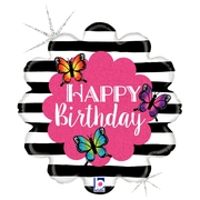 L0018. Balon foliowy z helem na urodziny 18″ cali (43 cm) – Happy Birthday i motylki