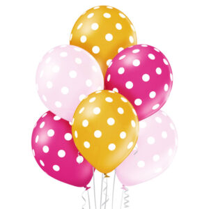 E001. Zestaw balonów dekoracyjnych / różowo złoty w białe grochy – 6 sztuk