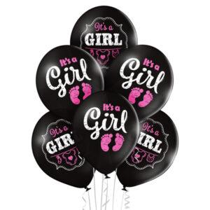C003. Zestaw balonów na Baby Shower / narodziny dziewczynki- czarne it's a Girl – 6 sztuk