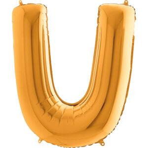 KZ21. Balony litery duże około 100 cm z helem – litera złota U
