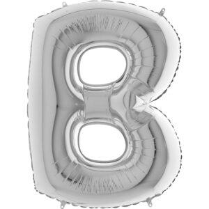 KS02. Balony litery duże około 100 cm na hel – litera srebrna B