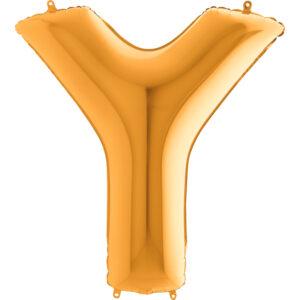 KZ25. Balony litery duże około 100 cm z helem – litera złota Y
