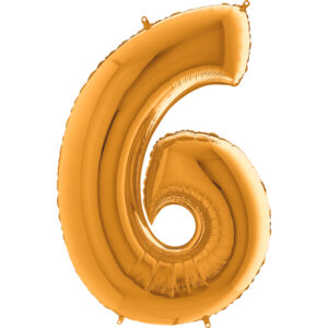 K0006. Balon foliowy w kształcie cyfry 6 w kolorze złotym