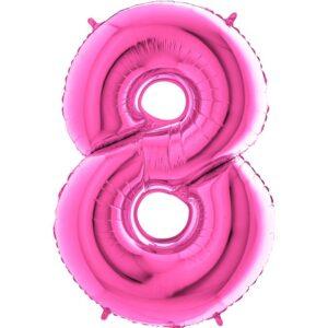 K0068. Balon foliowy w kształcie cyfry 8 w kolorze fuksja / ciemny róż
