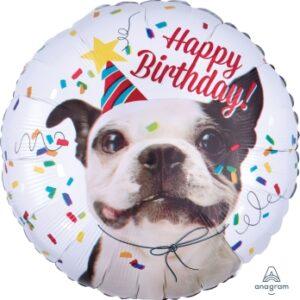 L0041. Balon foliowy z helem na urodziny 18″ cali (43 cm) – uśmiechnięty piesek