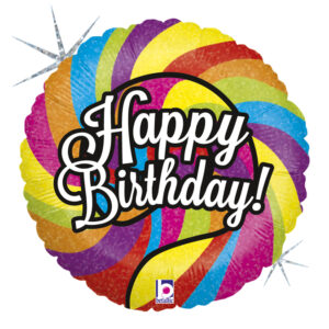 L0027. Balon foliowy z helem na urodziny 18″ cali (43 cm) – Happy Birthday lizak