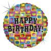 Kolorowy balon urodzinowy z nadrukiem w prezenty