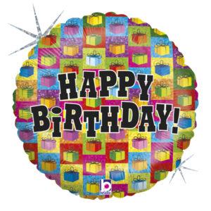 L0028. Balon foliowy z helem na urodziny 18″ cali (43 cm) – Happy Birthday prezenciki