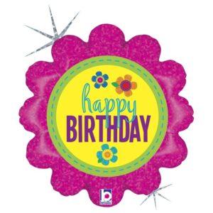 L0021. Balon foliowy z helem na urodziny 18″ cali (43 cm) – Happy Birthday kwiatek