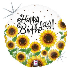 L0056. Balon foliowy z helem na urodziny 18″ cali (43 cm) – słoneczniki