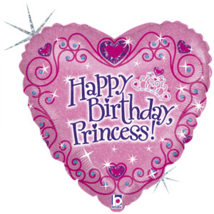 Balon serce z helem z napisem Happy Birthday Princess!