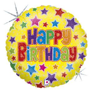 L0029. Balon foliowy z helem na urodziny 18″ cali (43 cm) – Happy Birthday kolorowe gwiazdki