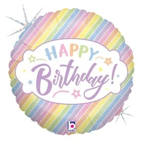 L0034. Balon foliowy z helem na urodziny 18″ cali (43 cm) – Happy Birthday pastelowy