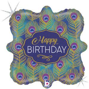 L0055. Balon foliowy z helem na urodziny 18″ cali (43 cm) – pawie piórka