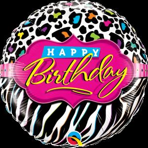 L0025. Balon foliowy z helem na urodziny 18″ cali (43 cm) – Happy Birthday safari