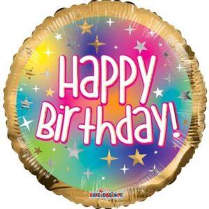L0026. Balon foliowy z helem na urodziny 18″ cali (43 cm) – Happy Birthday złota obwódka