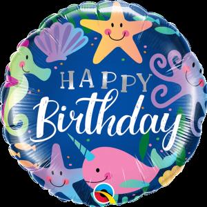 L0038. Balon foliowy z helem na urodziny 18″ cali (43 cm) – morskie zwierzątka