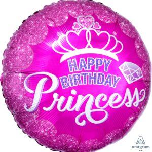 L0024. Balon foliowy z helem na urodziny 18″ cali (43 cm) – Happy Birthday Princess okrągły