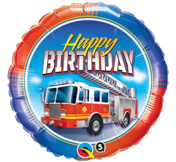 Balony z helem wóz strażacki
