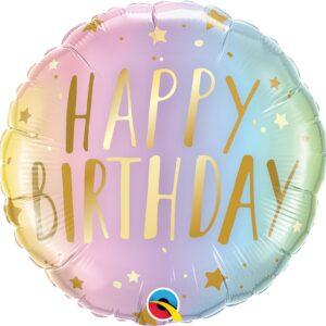 L0009. Balon foliowy z helem na urodziny 18″ cali (43 cm) – Happy Birthday ze złotymi gwiazdkami