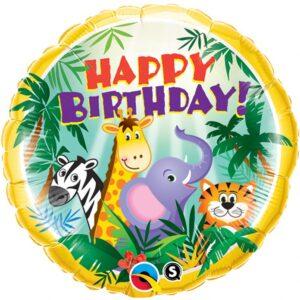 L0074. Balon foliowy z helem na urodziny 18″ cali (43 cm) – zwierzęta safari