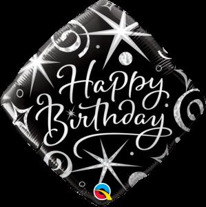 L0011. Balon foliowy z helem na urodziny 18″ cali (43 cm) – czarny rąb Happy Birthday