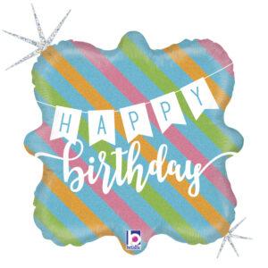L0020. Balon foliowy z helem na urodziny 18″ cali (43 cm) – Happy Birthday w paski
