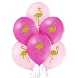 D014. Zestaw balonów ze zwierzątkami / złote flamingi – 6 sztuk