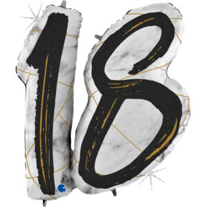K182. Balon z helem na 18 urodziny 38″cali – marmurkowy jeden balon