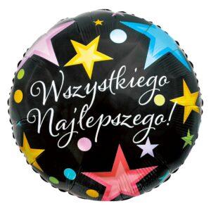 L0052. Balon foliowy z helem na urodziny 18″ cali (43 cm) – z napisami po polsku